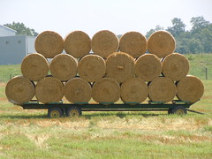 Stacked round hay bales ready for transport (hansntareen) Tags: pennsylvania farm circles wheels pa rolls trailer hay bales stacked roundbale