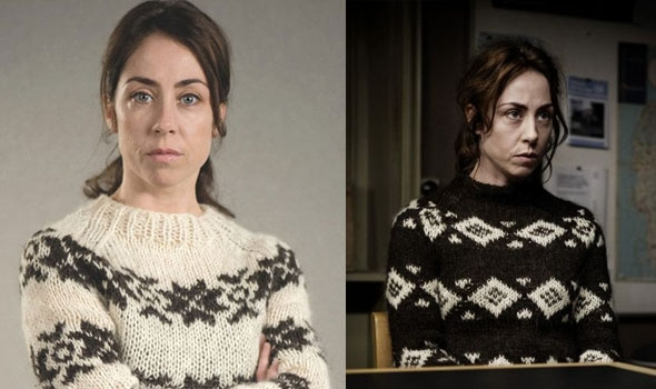Two photos of Sarah Lund, played by Sofie Gråbøl on the left she wears a white wool sweater with a brown pattern and has her arms crossed, on the right she wears a brown wool sweater with a white pattern and is in scene in the show.