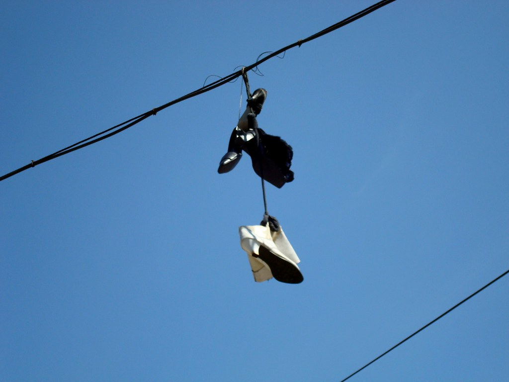 Ostrava (Infodad) Tags  street city shoes republic czech boots sneakers  hanging suspended ostrava 685108546d