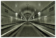 Old Elbe Tunnel (picture 4B) Tags: city longexposure light monochrome architecture germany deutschland town blackwhite sony hamburg sigma stadt architektur hdr endless langzeitbelichtung endlos oldelbetunnel a580 freiehansestadt mygearandme
