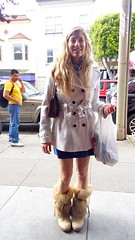 Woman w Coat & Furry Boots (Lynn Friedman) Tags: sanfrancisco california ca woman usa fashion shopping bag fur boots coat haight lowerhaight sfist shopper 94117 lynnfriedman streetspeople doublebrested