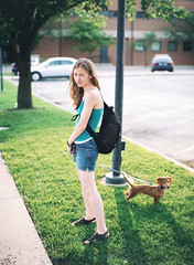 Unhappy Lauren & Strudel (mat4226) Tags: ohio dog lauren 120 mamiya film mediumformat puppy evening puppies 645 sundown kodak dachshund backlit 6x45 portra findlay f28 strudel dapple 80mm rollfilm bagley skintones portra400 findlayoh standardlens sekor newportra laurenbagley believeinfilm