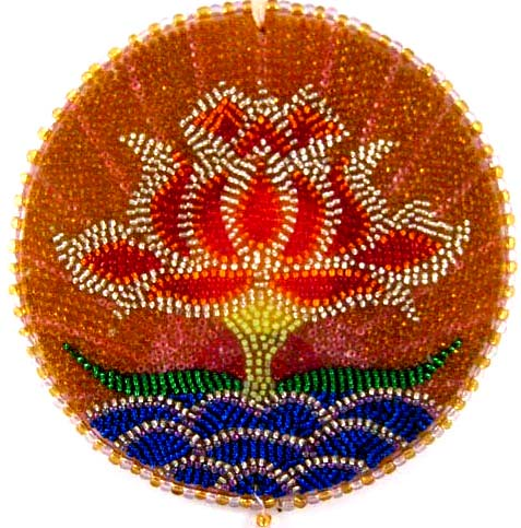 Mandala Lotus handmade wall hanging beaded mosaic