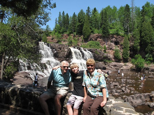 Mom and Dad with Thing 1 at Gooseberry Falls
