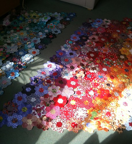 patchwork rainbow in progress