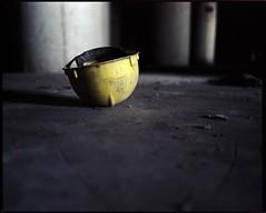 Yellow (ChristopherFecio) Tags: urban ny abandoned mamiya pool hat yellow buffalo kodak elevator grain hard 2006 expired portra f4 rz67 cargill 65mm 160nc proii