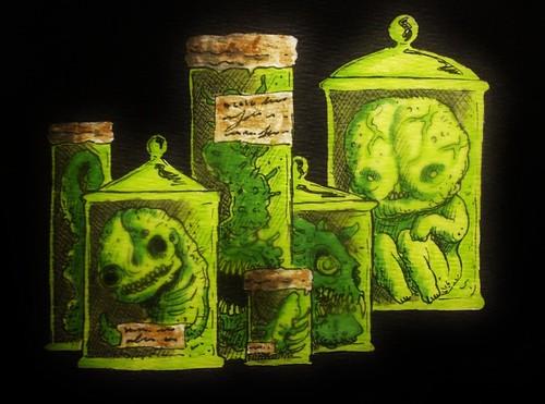 Specimens. (fungus_homunculus) Tags: green monster illustration weird drawing medical freak mutant jars specimen deformed mutation
