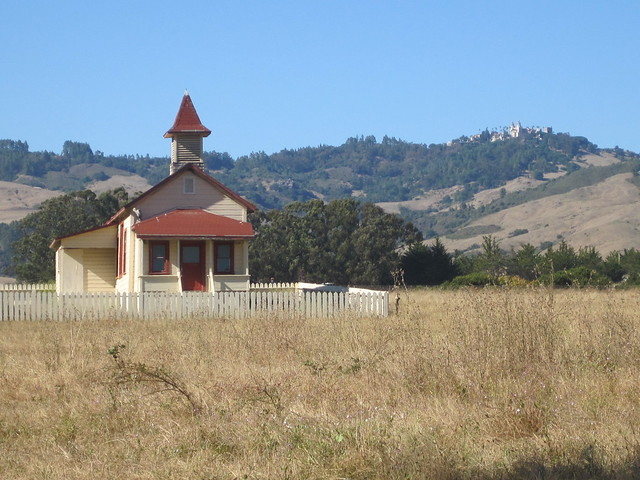 Old schoolhouse with Hearst Castle