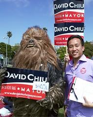David Chiu and Chiubacca in Dolores Park (votedavidchiu) Tags: sf sanfrancisco starwars mayor chewbacca davidchiu sanfranciscomayor chiubacca