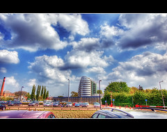 Space Center (Vijay_ktyely) Tags: uk trip travel red summer vacation england sky cloud sun house holiday color tree cars car clouds canon landscape photography photo spring europe raw photos leicester popular hdr spacecenter spacecentre wow1