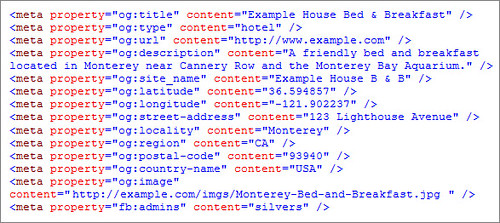 Facebook Open Graph code for Local SEO