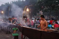 Typical chinese barbecue restaurant in Shanhaiguan streets