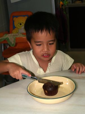 Julian cutting cake