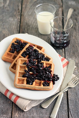 Cinnamon Teff Waffles with Blueberry Compote (Xiaolu // 6 Bittersweets) Tags: breakfast milk cinnamon delicious blueberry brunch waffles wholesome cityofhope compote teff superfoods wholewheatflour