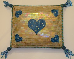 Summer Breeze (Ginny Sher) Tags: art beads 3d soft mosaic stainedglass pillow styrofoam tassels millefiori