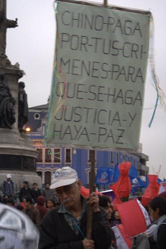 Sign in protest of a possible pardon for Fujimori