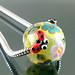 Charm Bead : Green Ladybug Flower Blossom