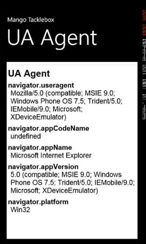 UA Windows Phone Mango Emulator
