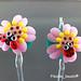 Earring Pair : Pink Ladybug Flower Blossom
