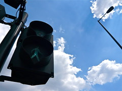 """Be joyful! Dance in the street."" (chrisowenrichards) Tags: sunlight trafficlights green clouds go joy bluesky poles pedestriancrossing owenrichards danceinthestreet streetphotographynowproject instruction44"