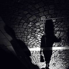 The slow walk home (Paul..Andrews) Tags: street shadow woman france sundown cobbles chinon iphone iphoneography
