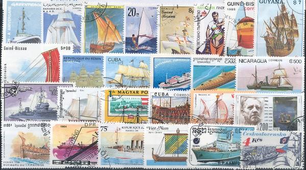 Známky - 100 rôznych, lode