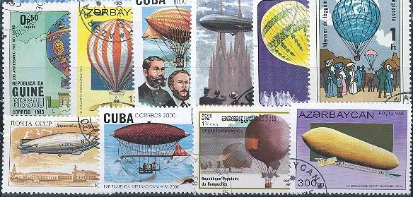 Známky - 25 rôznych, vzducholode a balóny