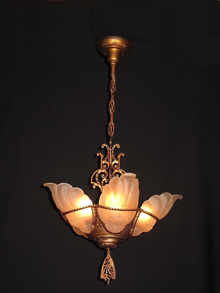 Deco slip shade chandelier | vintagelights.com