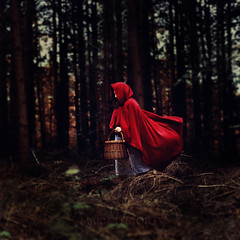 Red Riding Hood. (Marie Dcker) Tags: light red portrait girl canon dawn woods wolf dof basket darkness bright fear littleredridinghood unknown angst redridinghood feelings fairytales 50mm18 redcape whitedress brothersgrimm eos450d conceptualphotography focusonthegrimm