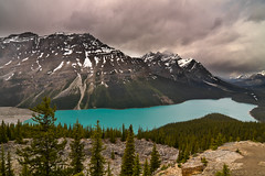 Peyto Lake, Banff National Park, Alberta, Canada (Christopher Brian's Photography) Tags: canada mountains clouds alberta banffnationalpark peytolake ultrawideangle glacialwater canoneos7d tokina1116mmf28atx116prodx