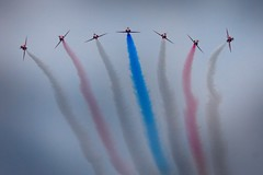 red arrows41 [1024x768] (Dave polonowski) Tags: show uk carnival blue red people cloud white plane force smoke air jet royal fast overcast best formation arrows british re swanage redarrows 2011