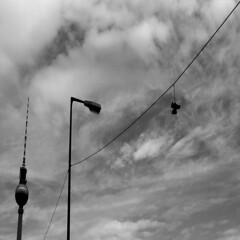 and a pair of shoes (DREASAN) Tags: berlin clouds streetlamp laterne funkturm mitte schuhe tvtower leitung shoefitti dreasanpics