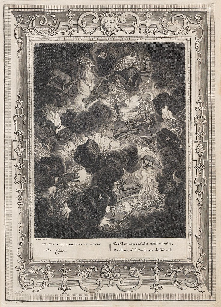 engraving of astrological zodiac figures emerging from conflagration at the beginning of the universe