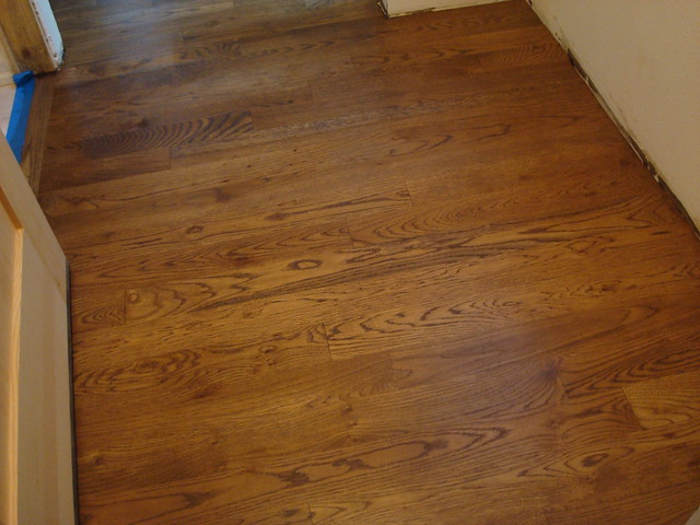 Stained floors with poly in mudroom