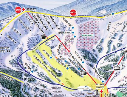 Schweitzer trail map of front bowl