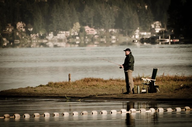 Fisherman on the banks of Lake Sammamish State Park