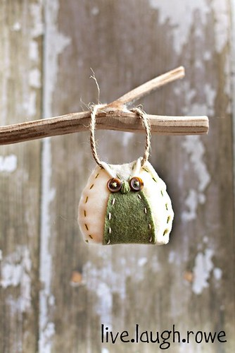 Ivory and Green Felt Owl