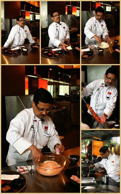 Chef Milind Sovani demonstrating chicken tikka