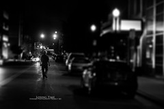 Day 184 - Losing Time (Will (Certified Ninja)) Tags: street shadow blackandwhite bw canon project 50mm lowlight streetlight noir f14 streetphotography faux 365 tiltshift canonef50mmf14usm fauxtiltshift canon50d photoshopcs5 stewardphotography
