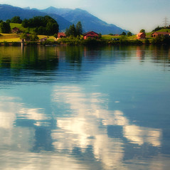 Lungern lake (ceca67) Tags: blue trees light summer sky sun house lake reflection tree green art nature water colors clouds landscape schweiz switzerland photo nikon swiss fineart mount svetlana 2011 d90 sbfmasterpiece fleursetpaysages sbfgrandmaster