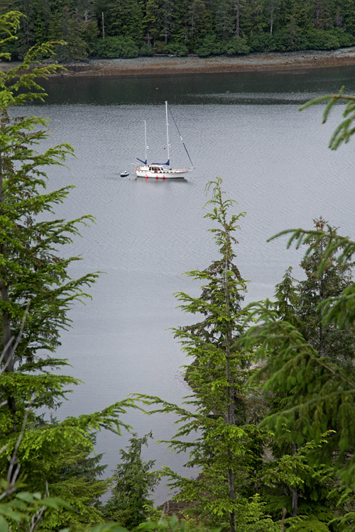 sailboat in Tolstoi Bay, Prince of Wales Island, Alaska