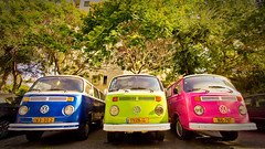 Colorful Troika (zar_kor) Tags: auto old city pink blue urban 3 green vw vintage salad 60s automobile antique parking retro age hippie van minivan minibus   troyka       volkswageb  sixtees
