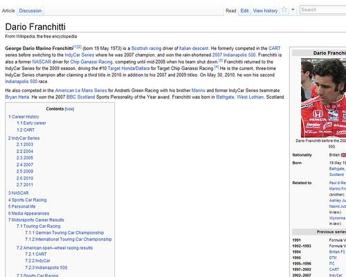 Dario Franchitti's Wikipedia Page