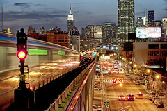 Late Ride Home (Tony Shi.) Tags: new york city nyc light ny station night yard subway manhattan side sunny clear midtown queens esb mta signal blvd rawson