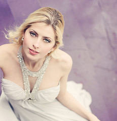Porcelain Doll (AnnuskA  - AnnA Theodora) Tags: blue woman color make up fashion contrast silver hair glamour eyes dress purple wind gorgeous silk lips sensual blond brazilian earrings brighteyes lustful likeahollywooddiva verywhiteskinno