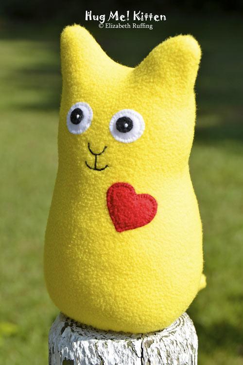 Lemon yellow fleece Hug Me Kitten by Elizabeth Ruffing