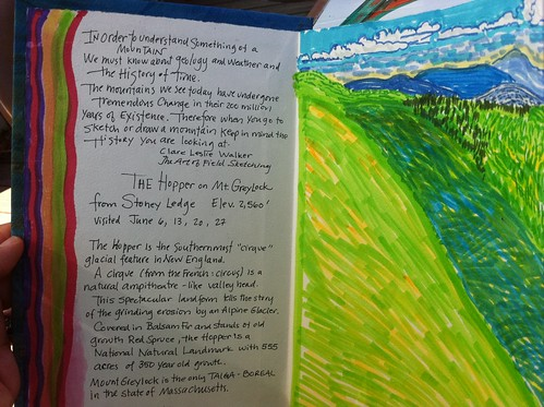 From Karen's Artist Book, entry made during her residency at Bascom Lodge on Mount Greylock, MA