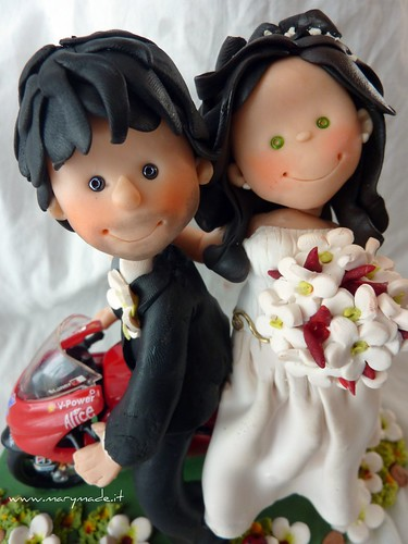 Cake Topper Matrimonio, sposi sulla moto