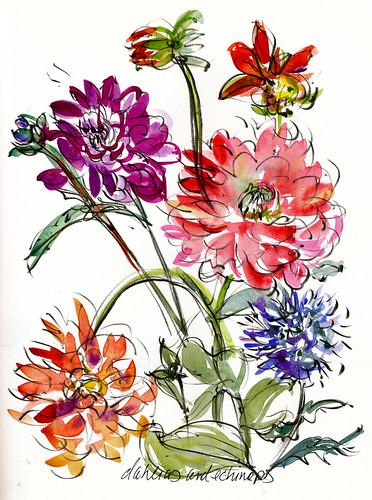 Dahlias and echinops