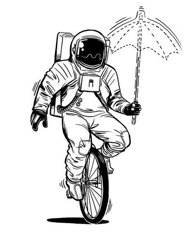 Dan Cruz Astronaut Linework by slaterman23